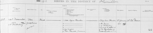 Tasmania 1910 birth register